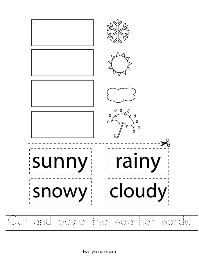 Cut and paste the weather words. Worksheet