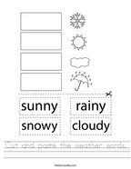 Cut and paste the weather words Handwriting Sheet