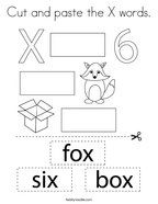 Cut and paste the X words Coloring Page