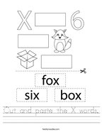 Cut and paste the X words Handwriting Sheet