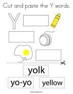 Cut and paste the Y words Coloring Page