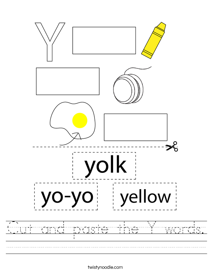 Cut and paste the Y words. Worksheet