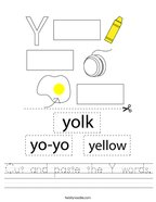 Cut and paste the Y words Handwriting Sheet
