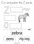 Cut and paste the Z words. Coloring Page
