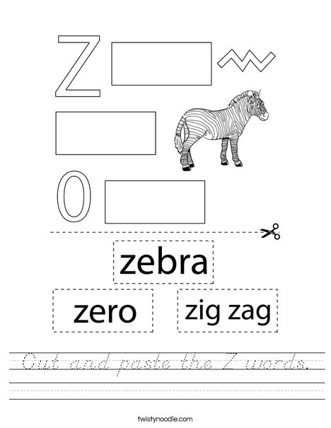 Cut and paste the Z words. Worksheet