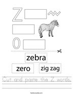 Cut and paste the Z words Handwriting Sheet