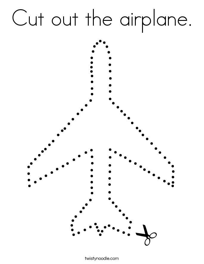 Cut out the airplane. Coloring Page