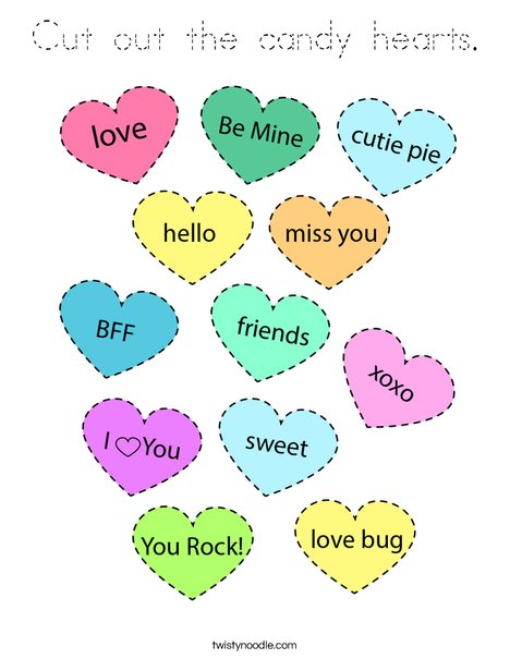 Cut out the candy hearts.  Coloring Page
