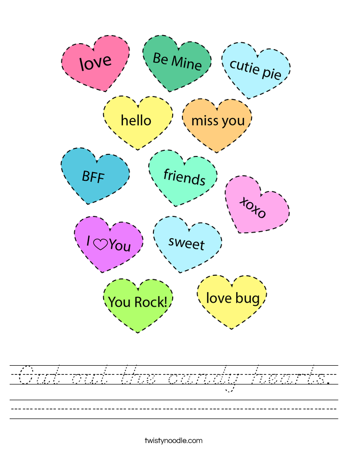 Cut out the candy hearts. Worksheet