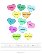 Cut out the candy hearts Handwriting Sheet