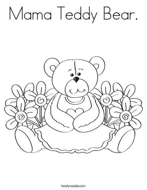 Cutie Bear with Flowers Coloring Page