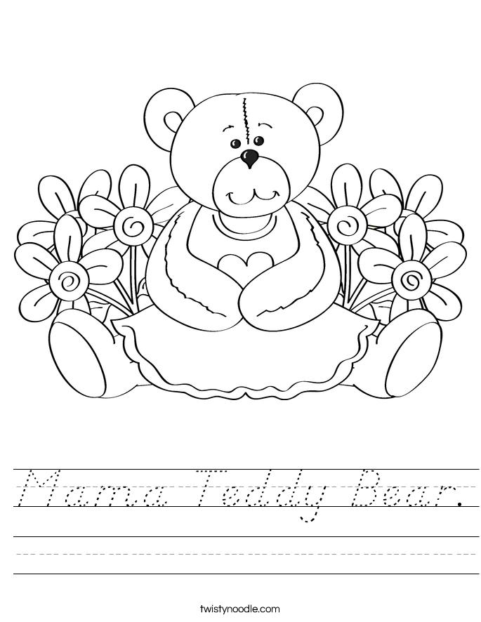 Mama Teddy Bear. Worksheet