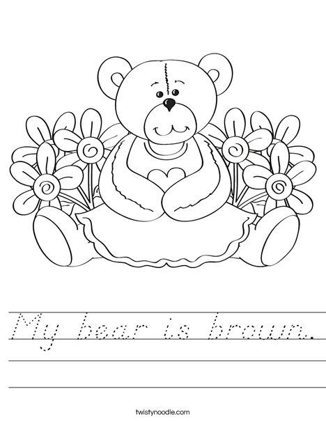 Cutie Bear with Flowers Worksheet