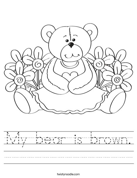 Cutie Bear with Flowers Worksheet