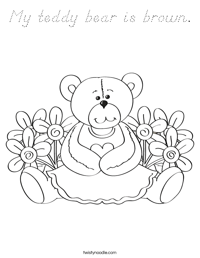 My teddy bear is brown. Coloring Page
