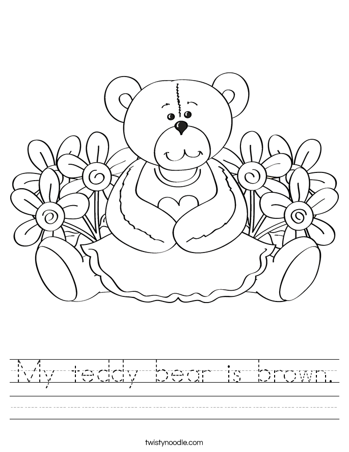 My teddy bear is brown. Worksheet