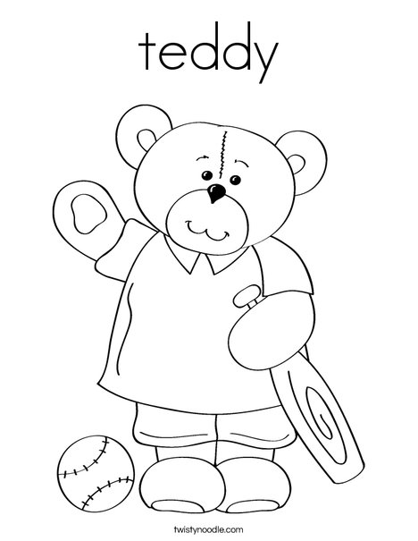 Cutie Bear with Bat Coloring Page