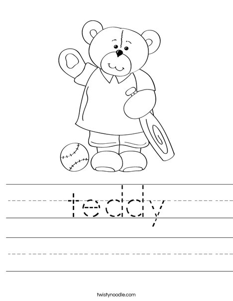 Cutie Bear with Bat Worksheet