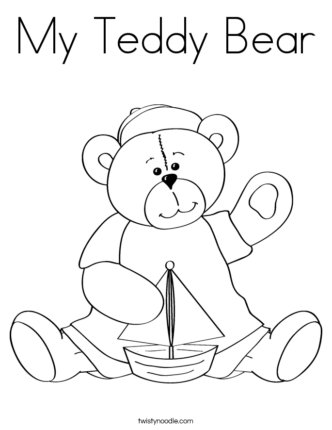 My Teddy Bear Coloring Page - Twisty Noodle