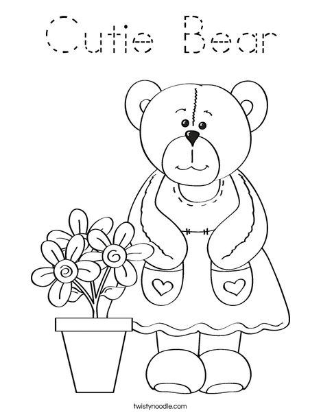 Cutie Bear Coloring Page