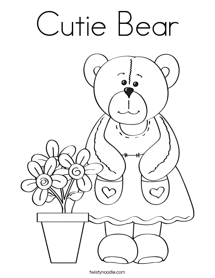 Cutie bear coloring page twisty noodle for Going on a bear hunt coloring pages