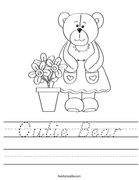 Cutie Bear Worksheet