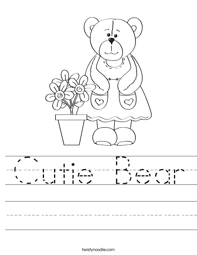 Cutie Bear Worksheet