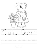 Cutie Bear Handwriting Sheet