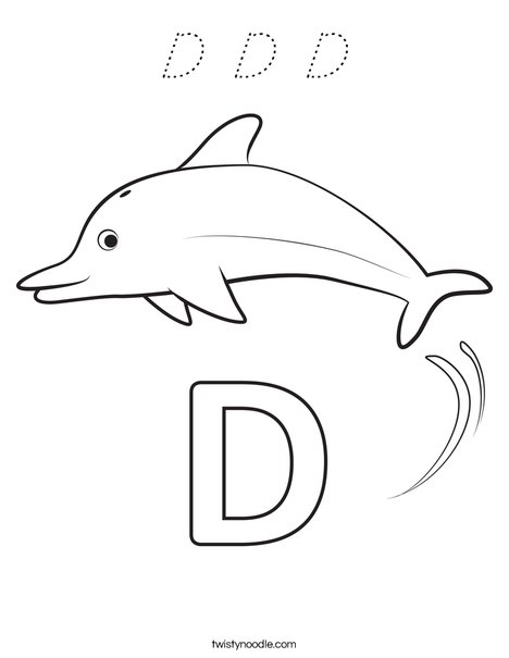 D Dolphin Coloring Page