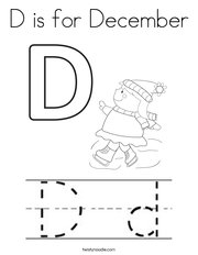 D is for December Coloring Page