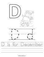 D is for December Handwriting Sheet