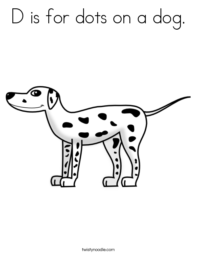 D is for dots on a dog. Coloring Page
