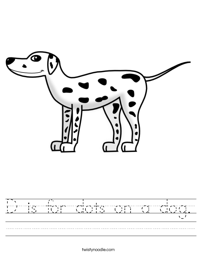 D is for dots on a dog. Worksheet
