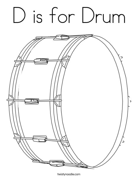d is for drum coloring page