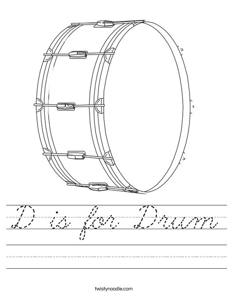 D is for Drum Worksheet