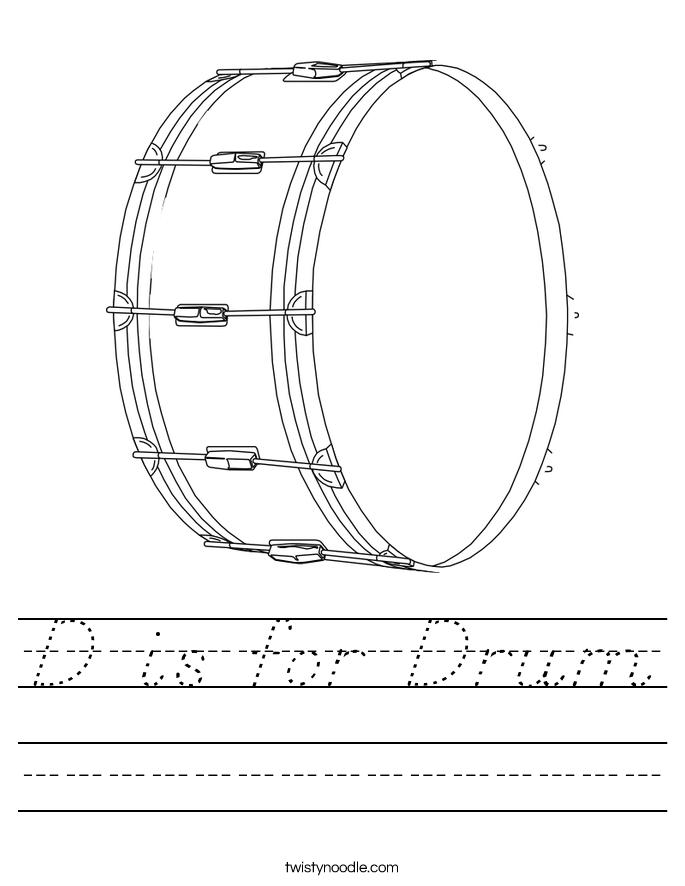 D is for Drum Worksheet