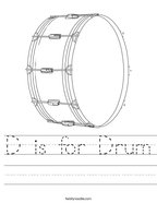D is for Drum Handwriting Sheet