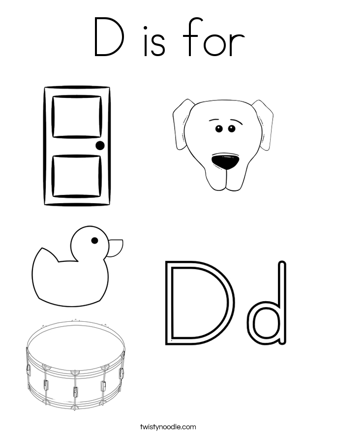 d is for coloring page - Letter D Coloring Pages