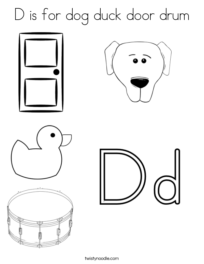D is for dog duck door drum Coloring Page