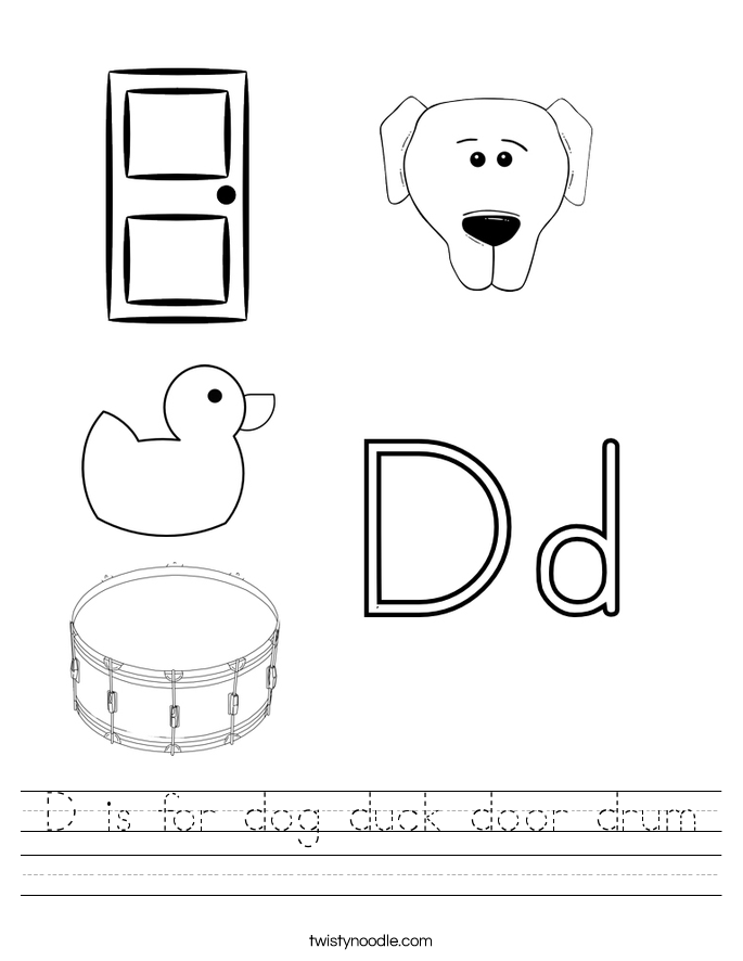 D is for dog duck door drum Worksheet