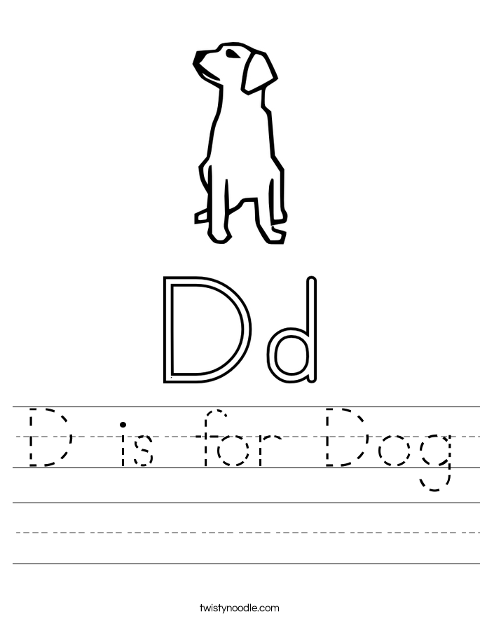 d is for dog worksheet twisty noodle. Black Bedroom Furniture Sets. Home Design Ideas