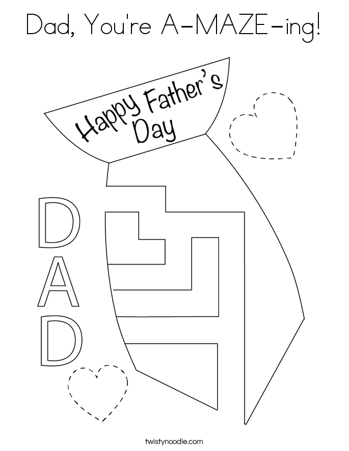Dad, You're A-MAZE-ing! Coloring Page