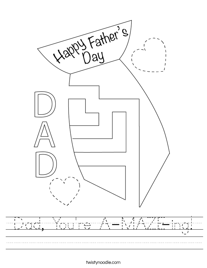Dad, You're A-MAZE-ing! Worksheet