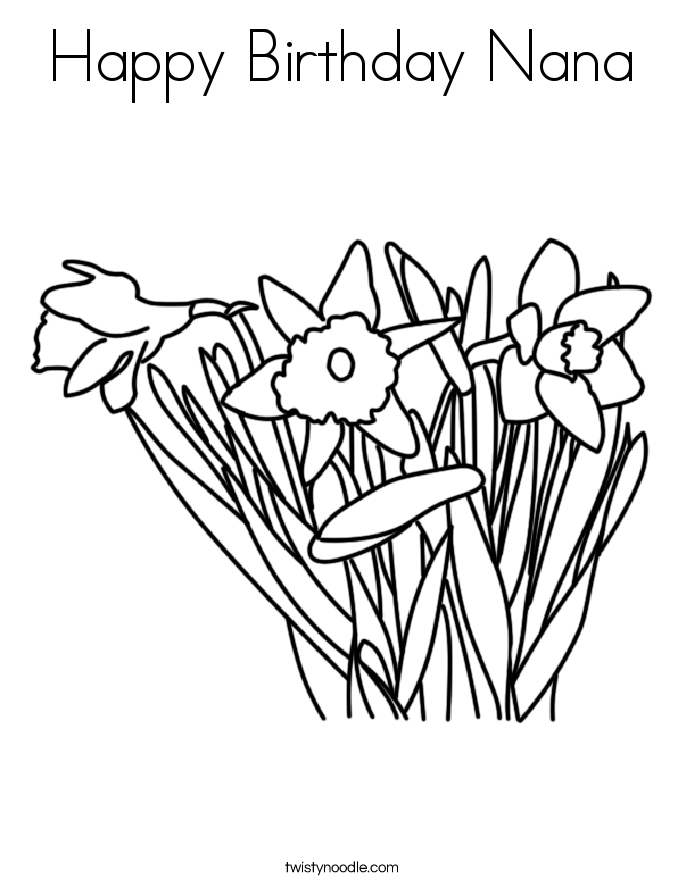 This is an image of Fan happy birthday nana coloring pages