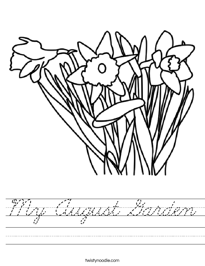 My August Garden Worksheet