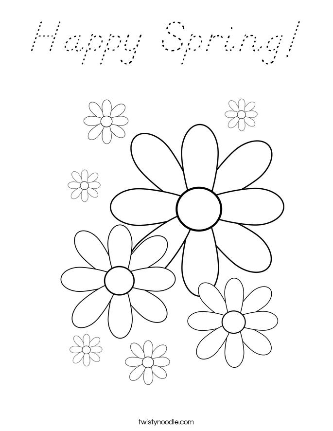 Happy Spring! Coloring Page