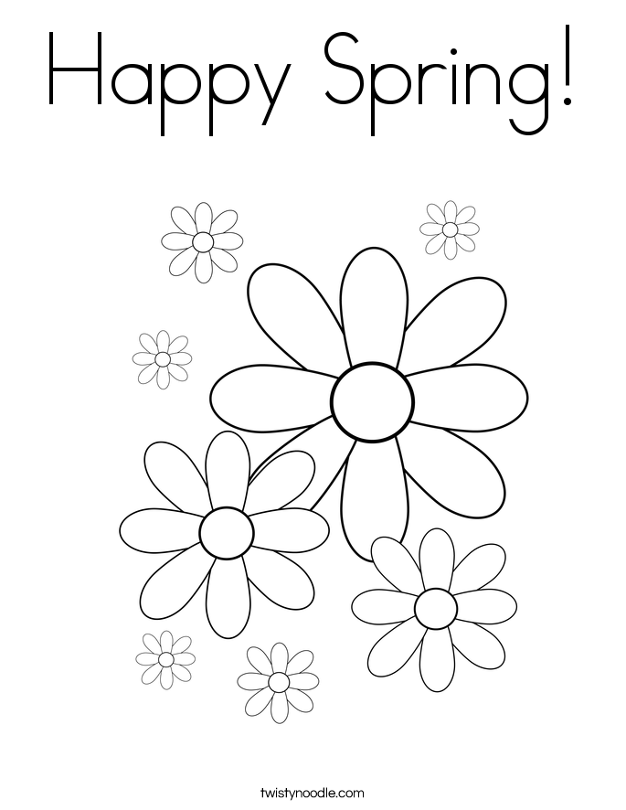 Happy Spring! Coloring Page