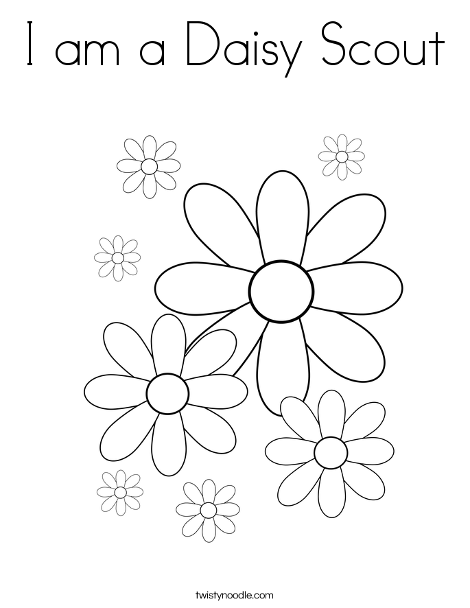 I am a Daisy Scout Coloring Page Twisty Noodle