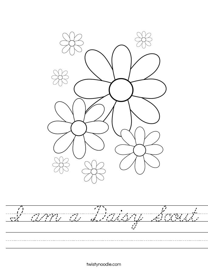 I am a Daisy Scout Worksheet - Cursive - Twisty Noodle