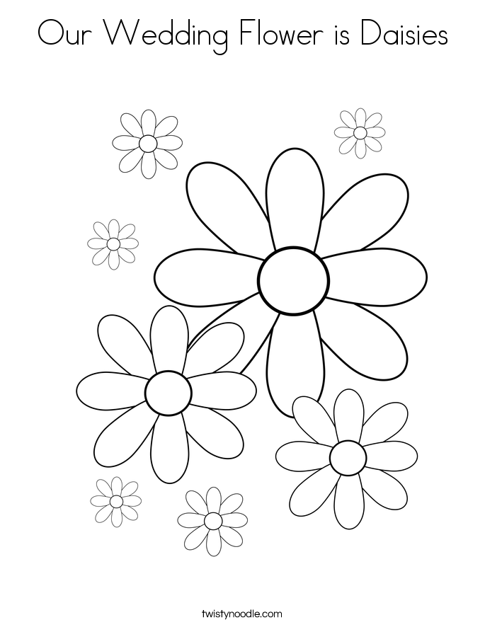 Our Wedding Flower is Daisies Coloring Page